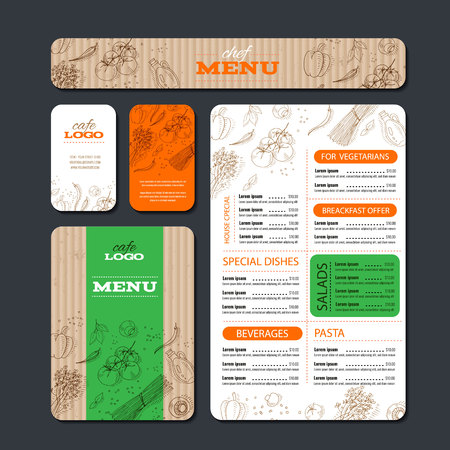 Cafe or restaurant identity template includes example menu, brochure, cards and banner. Food design Vector illustration. Illustration