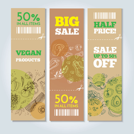 Set of banners with organic vegetables in hand drawn style. Perfect design for farm market advertising and bio product business. Modern business identity for bio products and agricultural industry. Stock Illustratie