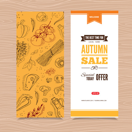 harvest organic: Flyer templates with organic vegetables in hand drawn style. Perfect design for farm market advertising and bio product business. Modern business identity for bio products and agricultural industry. Illustration