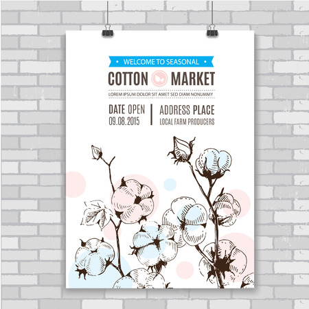 Poster with hand draw stems of cotton plants. Perfect design for natural market advertising, organic farming industry and bio product business.