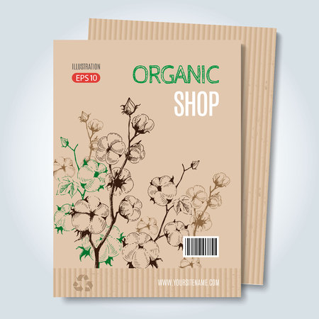 periodical: Vector cardboard template. Modern hand drawn style for sale and discount of of cotton clothing store, web, periodical, advertising, sticker and print. Concept for organic products shop, cover design.