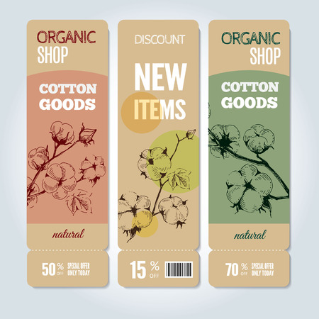 Set of vector hand drawn banners with stems of cotton plants. Modern hand drawn design for sale and discount of cotton clothing store, web, site, advertising, sticker and print. Vettoriali