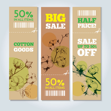 weave ball: Set of vector hand drawn banners with stems of cotton plants. Modern hand drawn design for sale and discount of cotton clothing store, web, site, advertising, sticker and print. Illustration