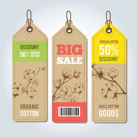 etiquetas de ropa: etiquetas de vector para la plantilla de la ropa. etiquetas naturales de algodón, pegatinas vector y elementos de diseño, conjunto de etiquetas y etiquetas de la ropa de algodón orgánico.