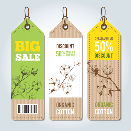 organic cotton: Vector tags for clothing template. Natural cotton vector labels, stickers and design elements, set of organic cotton clothing labels and tags.