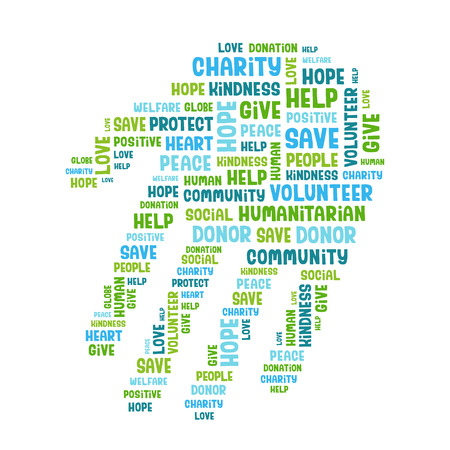 volunteering: Concept word cloud containing words related to charity, love, health care, kindness, human features, positivity, volunteering, donations, help in the shape of the hand. Handwritten vector font.
