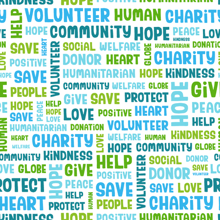 volunteering: Vector concept seamless pattern containing words related to charity, love, health care, kindness, human features, positivity, volunteering, donations, help and similar. Handwritten vector font.