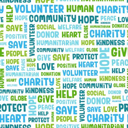 concept Vector seamless contenant des mots liés à la charité, l'amour, les soins de santé, la gentillesse, des traits humains, positivité, bénévolat, dons, aide et similaire. police vectorielle Handwritten.