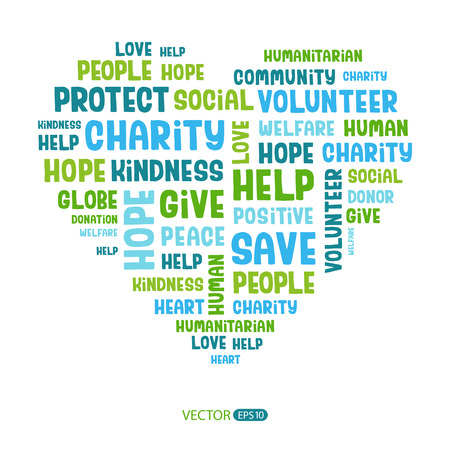 volunteering: Concept word cloud containing words related to charity, love, health care, kindness, human features, positivity, volunteering, donations, help in the shape of the heart. Handwritten vector font.