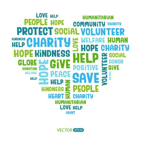 Koncepcja cloud słowo zawierające słowa związane z miłości, miłości, opieki zdrowotnej, uprzejmość, ludzkich cech, pozytywności, wolontariat, darowizny, pomoc w kształcie serca. Odręczne wektorowych czcionek.