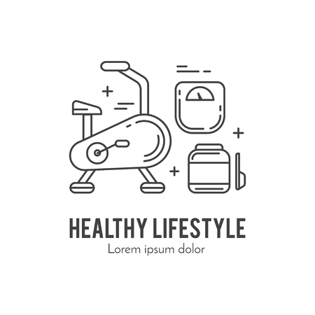 Healthy fitness lifestyle lineart concept Illustration