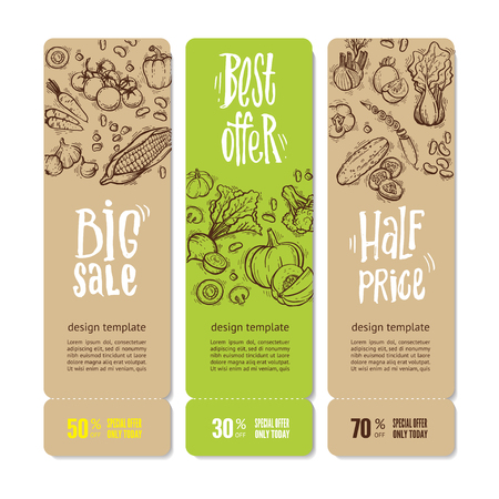 Set of banners with vegetables and greens, hand written lettering. Perfect design for farm market advertising, bio product business. Modern business identity for bio products, agricultural industry. Ilustracja