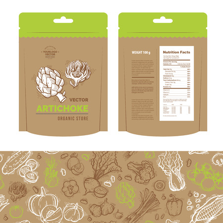 Classic brown recycled paper bag template for your design. Organic food stand up snack sachet bag packaging. Nutrition Facts Label design template for food content. Includes seamless pattern. Vektorové ilustrace