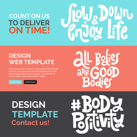 Web banners design template with hand drawn vector lettering. Body positive, mental health slogan stylized typography. Clean, minimalistic concept. Trendy style vector template. Ideal business layout. Stock Illustratie