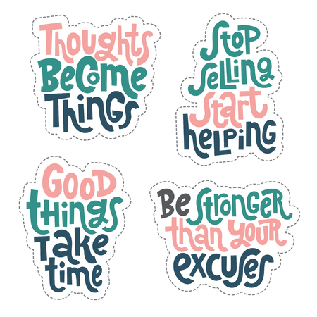 Sticker set design template with hand drawn vector lettering, quote to keep inspired for success. Clean minimalistic concept for self development, coaching, mentoring, personal and self made growth. 向量圖像