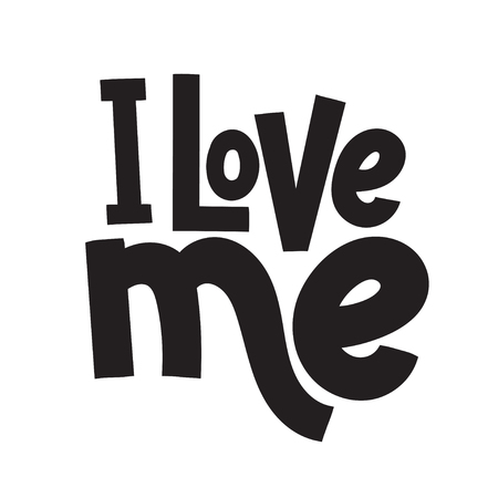 I love me - funny, comical, black humor quote about Valentine s day. Unique vector anti Valentine lettering for social media, poster, greeting card, banner, textile, gift, T-shirt or mug. Illusztráció