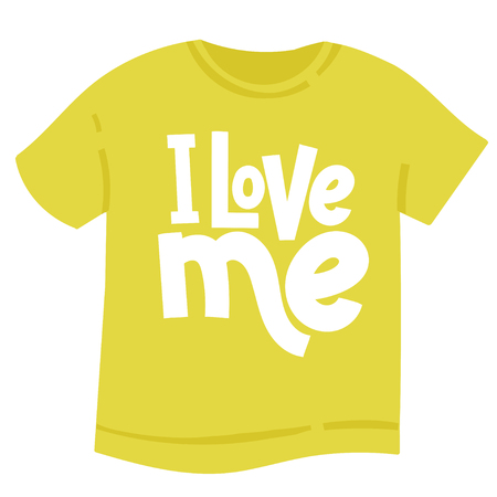 I love me - tee shirt with hand drawn vector lettering. Anti Valentine slogan stylized typography. Funny, black humor quote about Valentine s day for a party, social media, Singles Day. Illustration