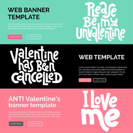 Modello di progettazione di banner Web o stampa con scritte vettoriali disegnate a mano. Anti San Valentino, tipografia stilizzata con slogan del giorno dei single. Citazione di umorismo nero per una festa, social media. Disposizione orizzontale.