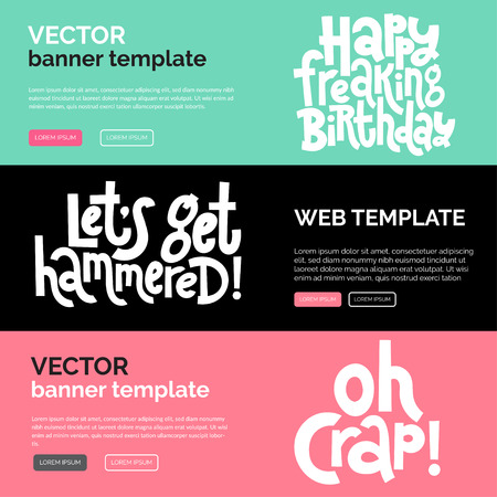 Irreverent Birthday. Web or print banners design template with hand drawn vector lettering. Vectores
