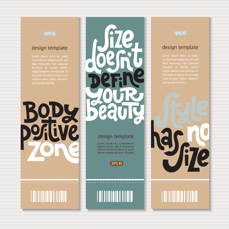 Web or print banners design template with hand drawn vector lettering. Body positive, mental health slogan stylized typography. Clean, minimalistic concept. Ideal business layout.