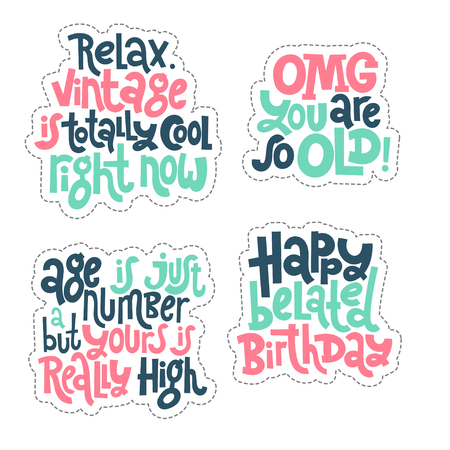 Irreverent Birthday Sticker set design template with hand drawn vector lettering.