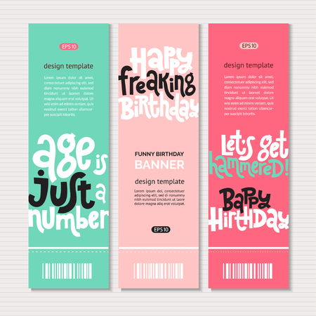 Irreverent Birthday. Web or print banners design template with hand drawn vector lettering. Illustration