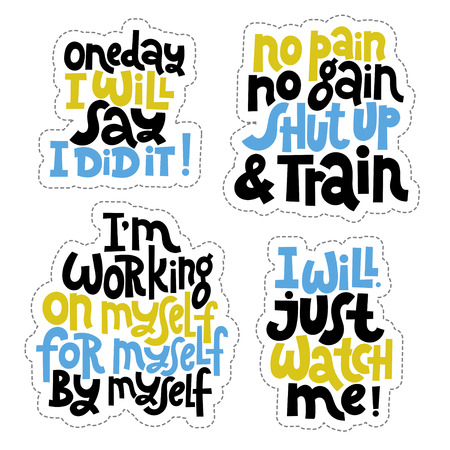 Sticker set design template with hand drawn vector lettering. Unique motivational phrases about workout, gym, fitness, wellness program, inspiration to lose weight. Modern concept typography layout. Stock Vector - 124904646