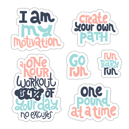 Sticker set design template with hand drawn vector lettering. Unique motivational phrases about workout, gym, fitness, wellness program, inspiration to lose weight. Modern concept typography layout. Stock Vector - 124904649