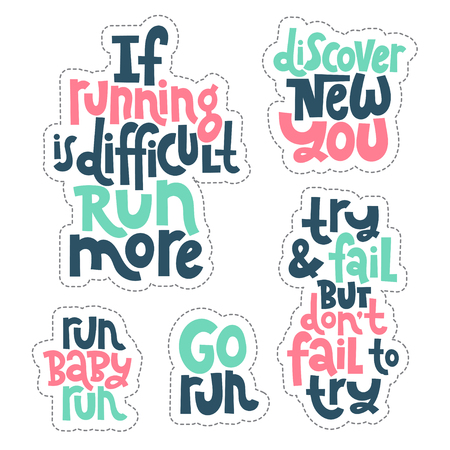 Sticker set design template with hand drawn vector lettering. Unique motivational phrases about workout, gym, fitness, wellness program, inspiration to lose weight. Modern concept typography layout. Illustration