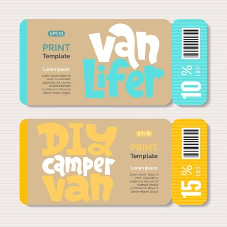Promotional coupon with hand drawn vector lettering quote about tourism vacation, travel in a caravan, van live, trip in RV, camper. Print design template. Modern minimalistic typography layout. Stock Vector - 131818903