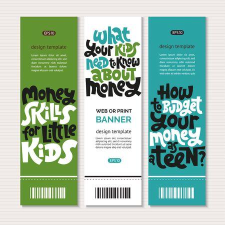 Kid finance lettering Stock Vector - 133066803