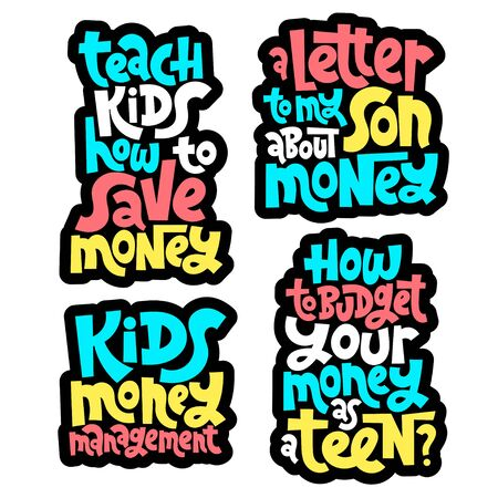 Kid finance lettering Illustration