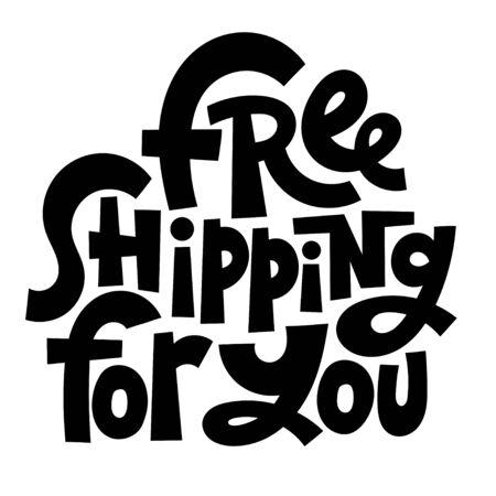 Free shipping lettering Ilustração