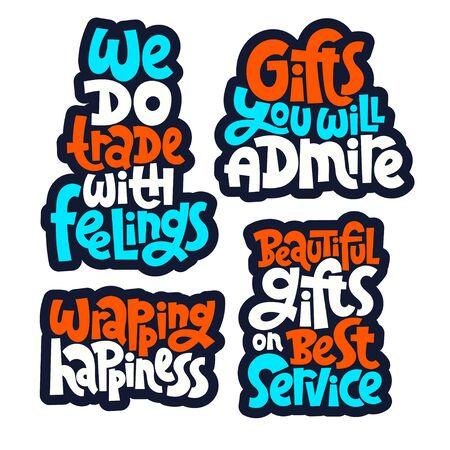 Gift shop lettering Stock Illustratie