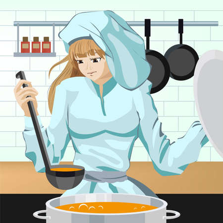 Cook girl Vector