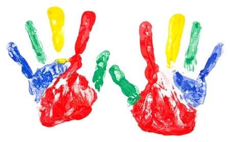 Close up of colorful hand painted isolated on white background Stock Photo - 11503562
