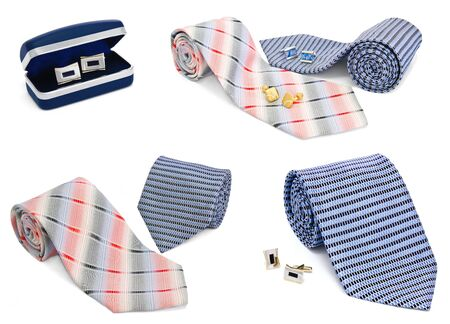 Man cuff links and tie collection on a white photo