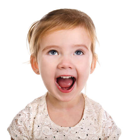 Portrait of little screaming girl on a white