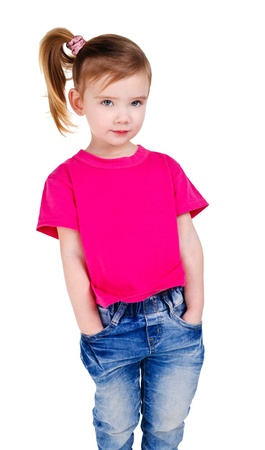 Portrait of cute little girl in jeans isolated photo