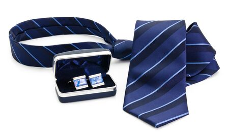 Man cuff links in box and tie  isolated on white Stock Photo - 13785890
