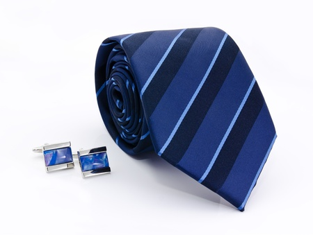 Man cuff links and tie  isolated on white Stock Photo - 13883329