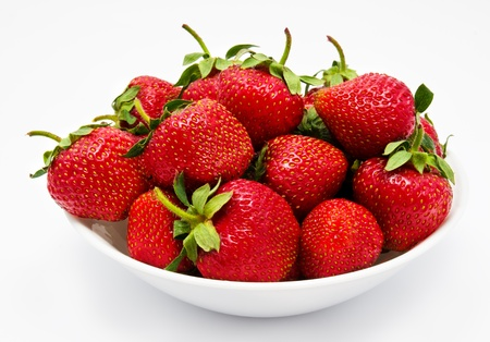 estival: Red strawberry in the bowl closeup isolated Stock Photo
