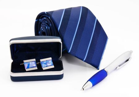 Man cuff links in box pen and tie  isolated on white Stock Photo - 14369175