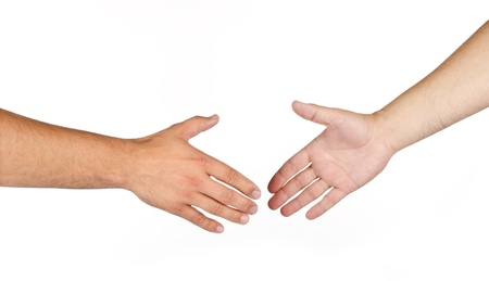 Shaking hands of two male people isolated on a white