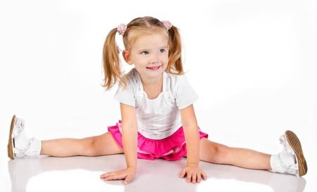 little models: Retrato de la sesi�n ni�a sonriente linda aislada