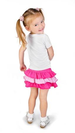 jolie petite fille: Portrait de sourire mignonne petite fille isol�e