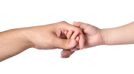 apoyo familiar: Padre que da la mano a un ni�o aislado
