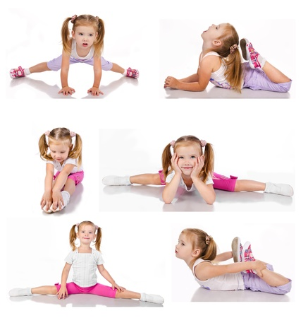 gymnastics sports: Collection of gymnast cute little girl isolated on white
