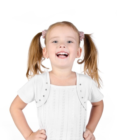 Portrait of cute laughing little girl isolated