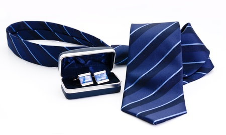 Man cuff links in box and tie  isolated on white Stock Photo - 15303286